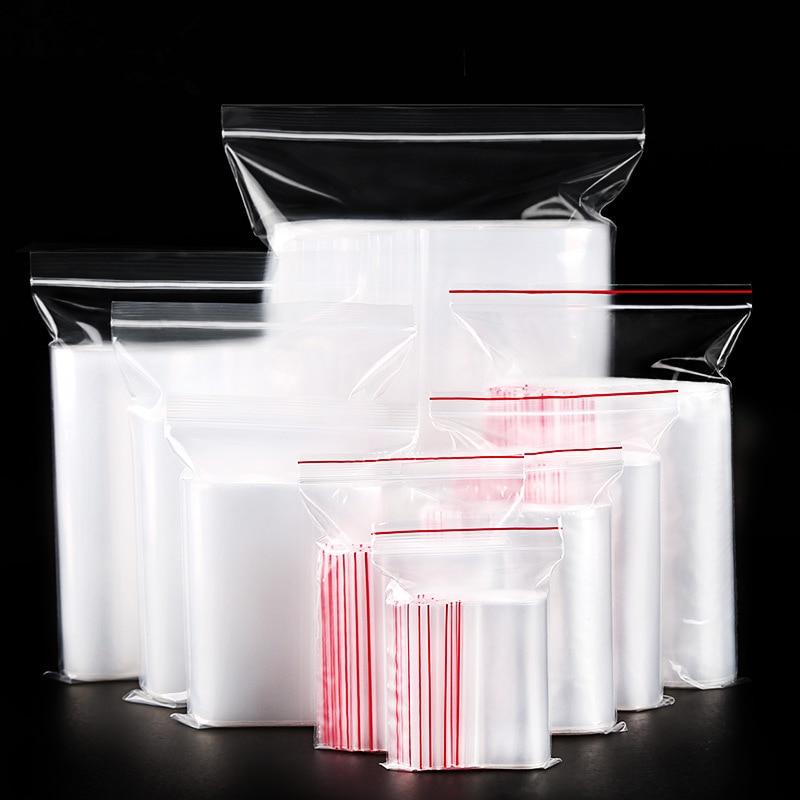 (100 Pieces/lot) Plastic Bag Dust Seal Pocket Food Clothing Packaging Zipper Bag Transparent Thick PE Ziplock Bag