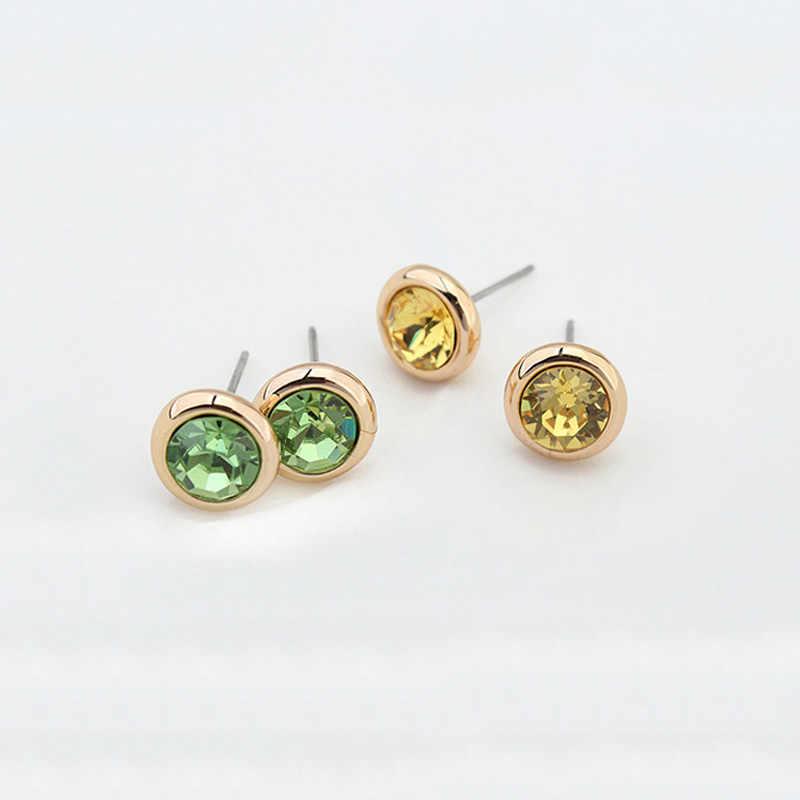 BAFFIN oryginalne okrągłe kryształy swarovskiego stadniny kolczyki dla kobiet akcesoria imprezowe Pendientes złoty kolor biżuteria ślubna