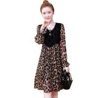 Fashion Leopard Print Lace Splice dress Women 2019 Spring Summer Long sleeve Chiffon Dresses Female Plus size 5XL Dresses A2561