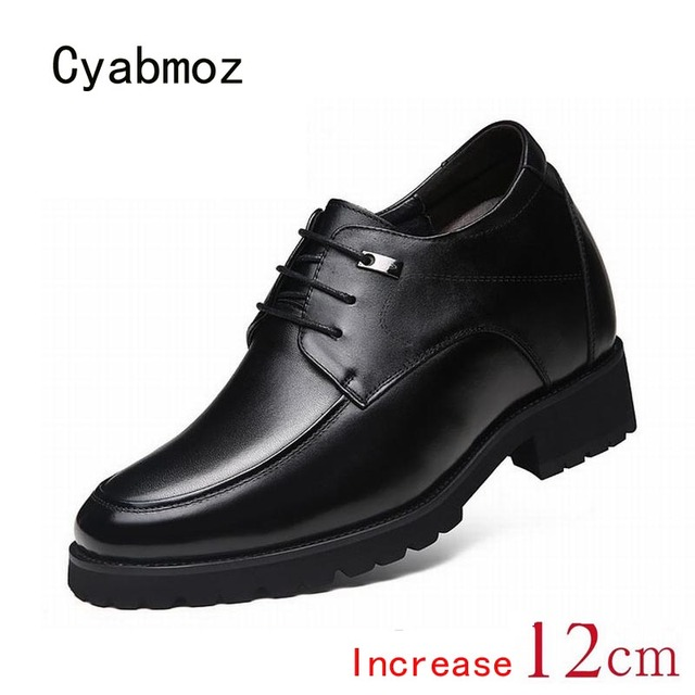 80d659e122af Cyabmoz Men Genuine Leather Height Increasing Elevator Shoes Increase Men s  Height 12CM 8CM Invisibly Business Wedding