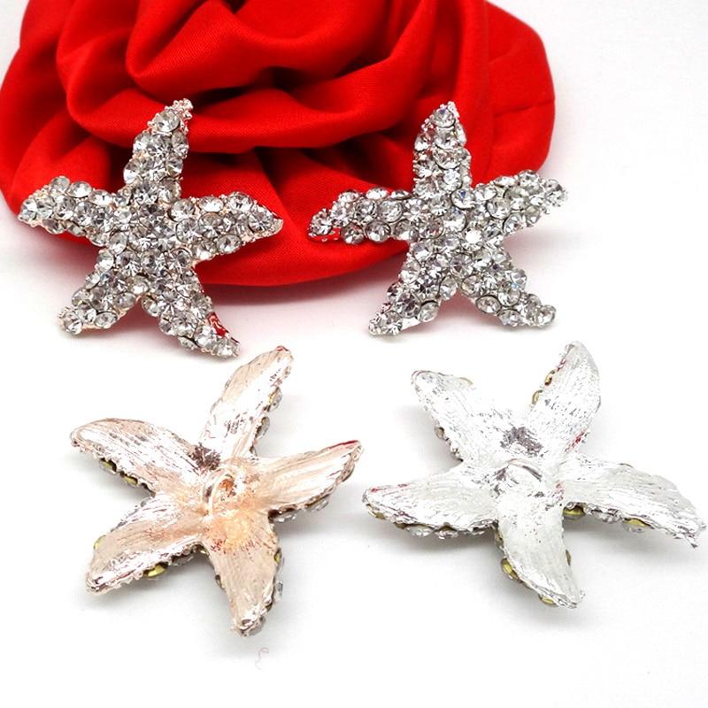 30mm  Glass Rhinestone Starfish Embellishment And Perfect Czech Rhinestone Starfish Shank Metal Button In Silver  50pcs RMM004-1