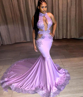Lavender Hollow Bust Black Girl Women Mermaid Prom Dress Sexy Open Back Lace Applique Formal Party Maxi Gown Celebrity Dresses