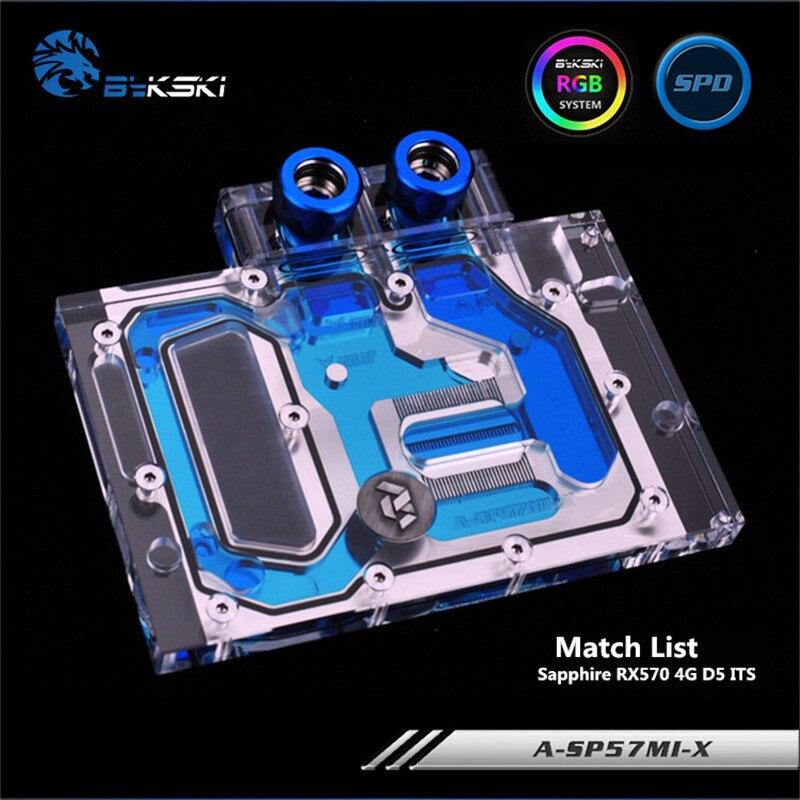 Bykski Full Coverage GPU Water Block For Sapphire RX570 4G D5 ITS Graphics Card A-SP57MI-X цена