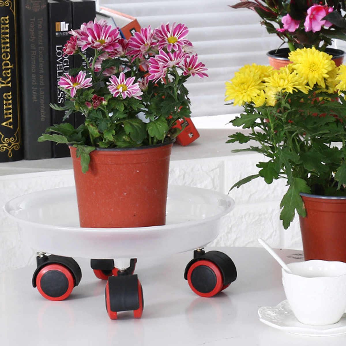 4 tamanhos Rolando Estande de Plantas de Jardim Vaso de Flores Bonsai Resina Bandeja de Carrinho de Rodas Que Se Deslocam Placa Motor Quintal Jardim Ferramentas Branco