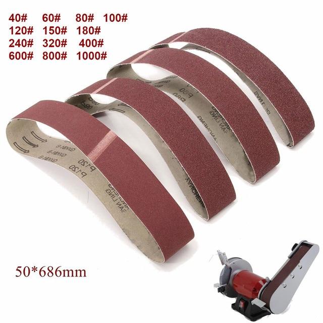 10 paczka 686*50mm taśmy szlifierskie 40 1000 Grit tlenek glinu szlifierka taśmy szlifierskie