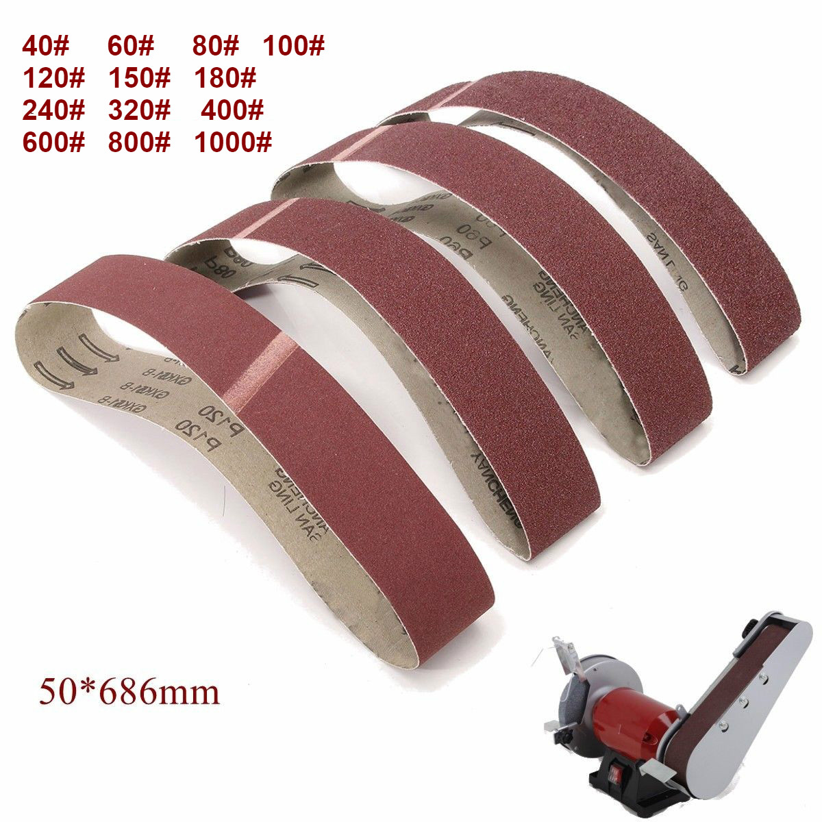10Pack 686*50mm Sanding Belts 40 1000 Grit  Aluminium Oxide Sander Sanding Belts-in Abrasive Tools from Tools