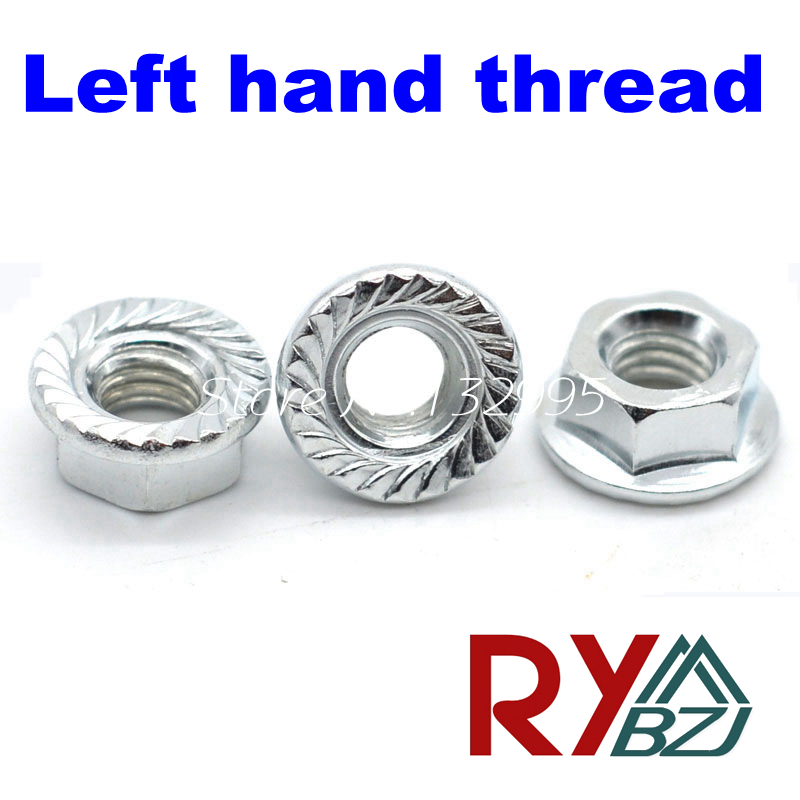 Left hand thread Hex Flange nut M4 M5 M6 M8 M10 M12 Carbon steel zinc plated Lock nut DIN6923 juicy shaker walk the lime