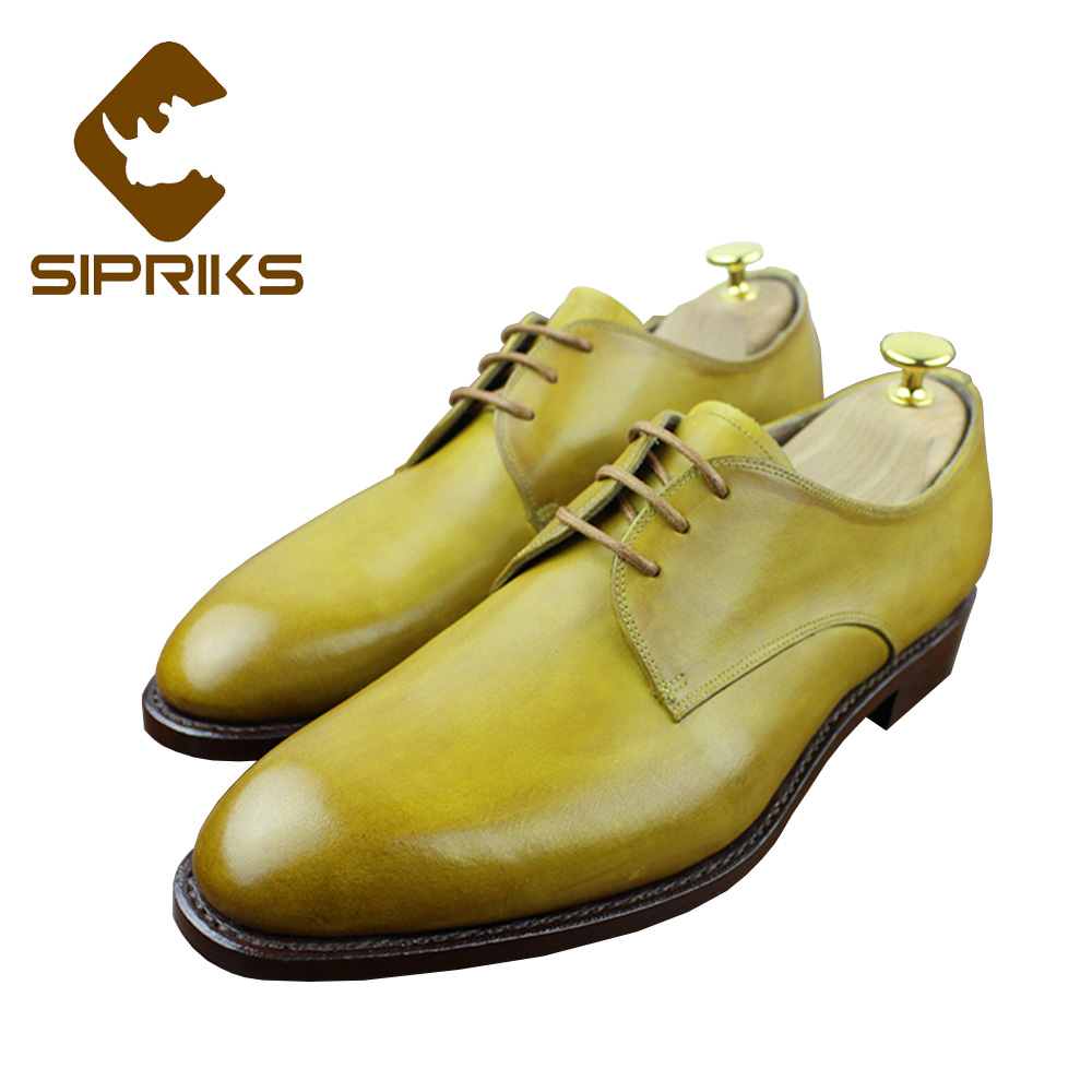 Sipriks Luxury Mens Goodyear Welted Shoes Genuine Leather Lemon Dress Shoes Fashion Male Wedding Shoes Custom Mens Social Shoes maloneda custom men s wedding party shoes matching suits handmade genuine leather brogue dress shoes with goodyear welted