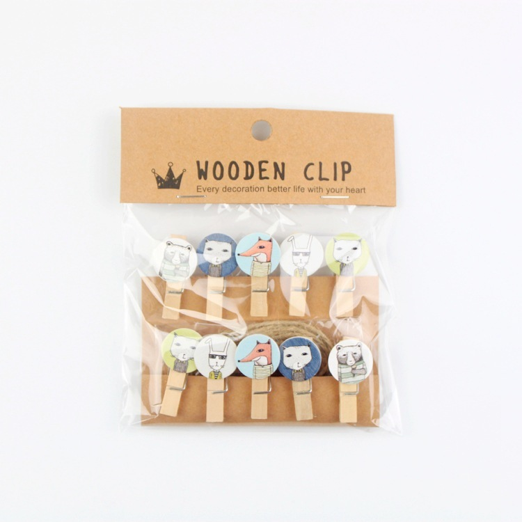 10 Pcs/lot Mr. Fox Animal Wooden Clip Photo Paper Clothespin Craft Clips Party Decoration Clip With Hemp Rope