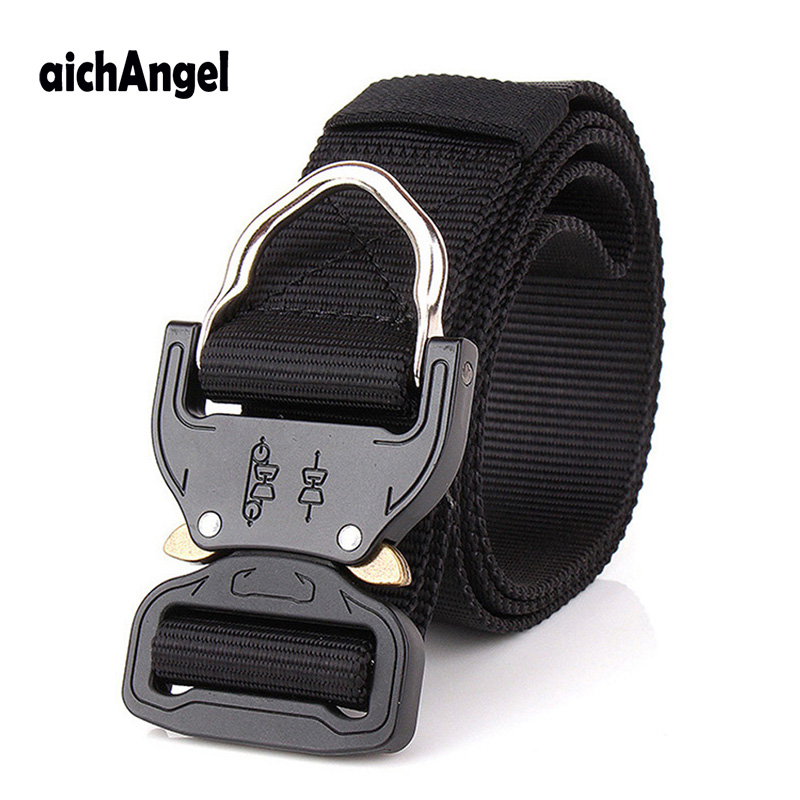 Mens Nylon Belt SWAT Combat Heavy Duty Knock Off Tactical Belt US Soldier Military Equipment Army Belts Sturdy Hook Waistband image