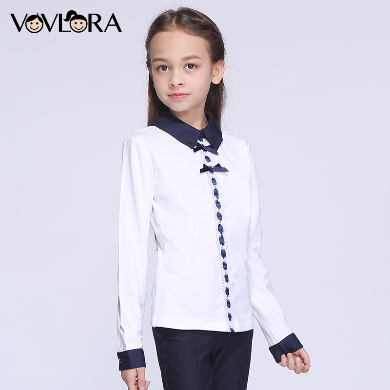 Girls tops t shirts long sleeve kids white school t shirts cotton knitted children clothes new 2017 size 7 8 9 10 11 12 years