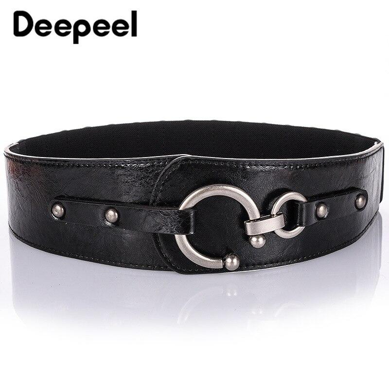 Deepeel 5*79cm Female PU Leather Fashionable Wide Cummerbund Women Elastic Waist Belt Coat Skirt Versatile Clothing Tape CB006