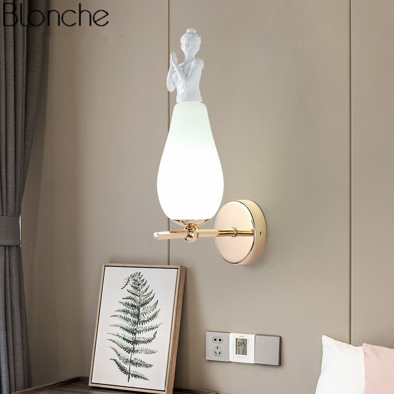 Modern Glass Angel Wall Lamp Led Sconce Nordic Mirror Wall Light Living Room Bedroom Stair Loft Industrial Home Decor Fixtures modern glass ball wall lamp led gold wall sconce loft industrial light living room bedroom stair home fixtures decor luminaire