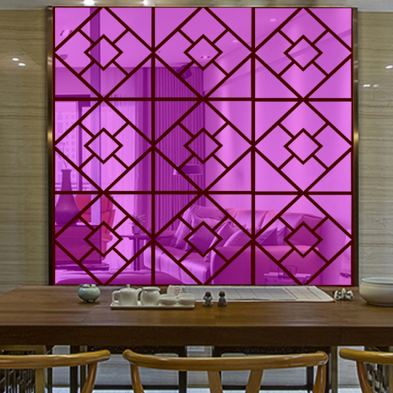 Customized decorative colorful Acrylic mirror Wall sticker geometric abstract square house decoration in Wall Stickers from Home Garden