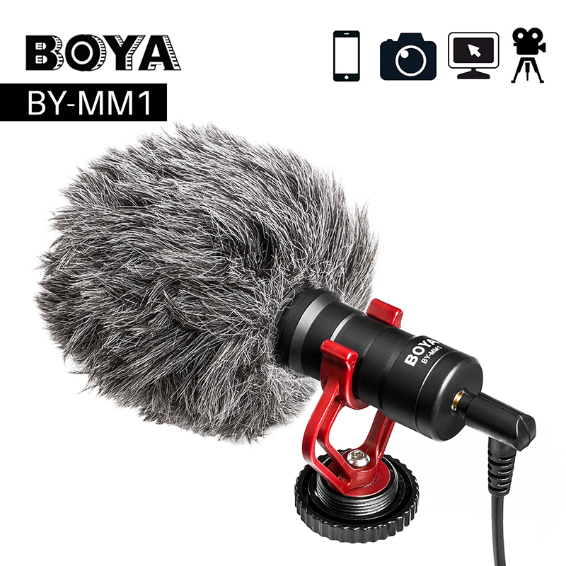 Microffon Recordio Fideo BOYA BY-MM1 Compact VS Rode VideoMicro Recordio ar y Camera Mic ar gyfer iPhone X 8 7 Huawei Nikon Canon DSLR
