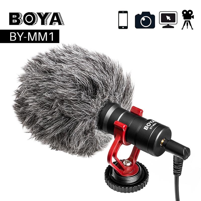 BOYA BY-MM1 Video Record Montou Microfone Compacto VS VideoMicro On-Câmera de Gravação Mic para o iphone X 8 7 Huawei nikon Canon DSLR