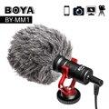 BOYA BY-MM1 Video micrófono para DSLR Cámara Smartphone Osmo bolsillo Youtube Vlogging micrófono para iPhone Android DSLR cardán