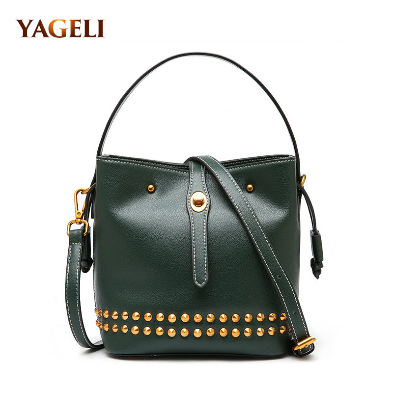 2018 genuine leather women shoulder messenger bags rivet design fashion women's crossbody bags luxury brand bucket women bags 2018 new fashion top handle bags women cowhide genuine leather handbags casual bucket bags women bags rivet shoulder bags 836
