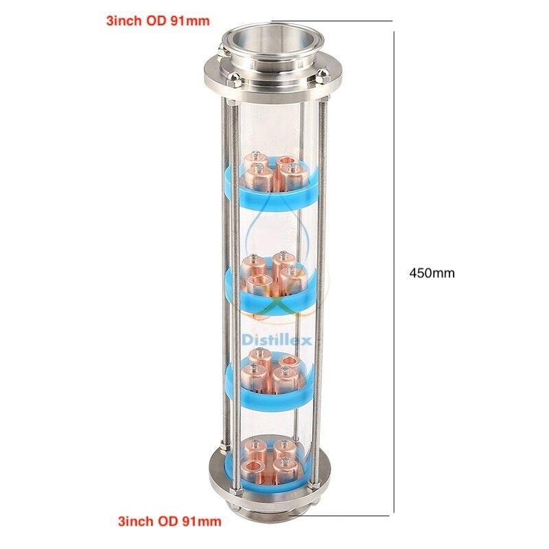 NOUVEAU 3 pouce (OD91mm) 99.9% Rouge De Cuivre bulle plaques Distillation Colonne avec 4 section pour Verre de distillation colonne