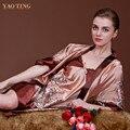 Sexy impressão de cetim de seda Robes pijamas vestido Babydoll Sleepwear pijama R7715