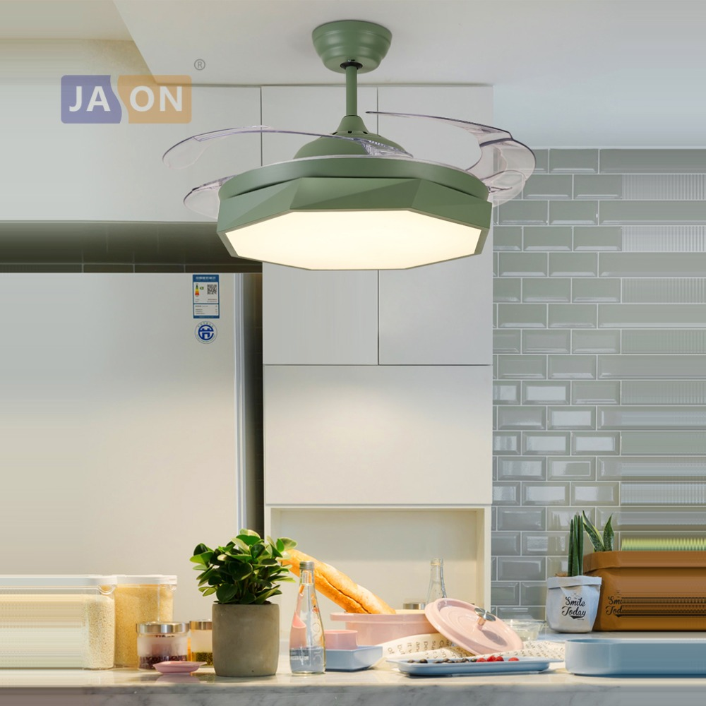 LED Postmoderne Alliage Acrylique ABS Blanc Gris Rose Vert Plafond Ventilateur. Lampe LED. LED Lumière. Plafonniers. LED Plafond Lumière. Pour Foyer