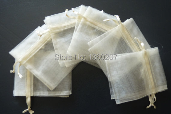 100pcs/lot 9x12cm Ivory Colour Organza Wedding Gift  Bags Pouches