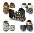 Grátis Fedex UPS sapatos de sola macia do bebê dot ouro zig mocassins de Couro do bebê chevron zag design branco preto Do Bebê leopardo Moccs