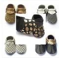 free Fedex UPS  baby soft sole gold dot shoes zig zag black white design Leather baby chevron moccasins Baby leopard Moccs