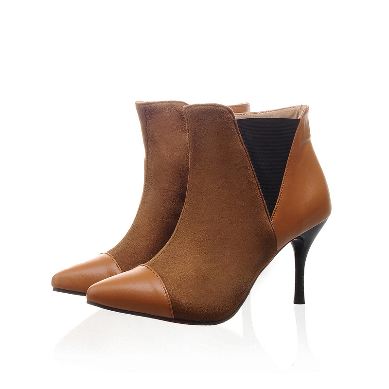 New Autumn  Sexy Black Brown Yellow Women Ankle Boots Pumps Ladies Shoes Pointed Toe High Heels A1-1 Plus Big size 32 45 11 brand new fashion black yellow women knee high cowboy motorcycle boots ladies shoes high heels a 16 zip plus big size 32 43 10
