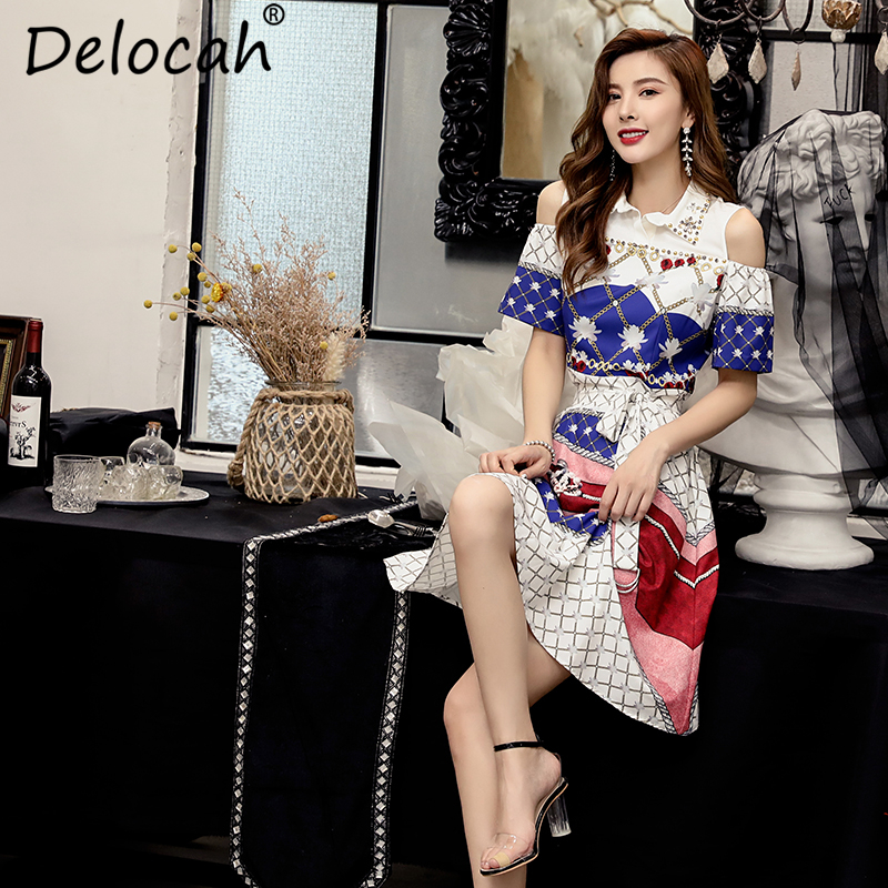 Delocah 2019 Women Spring Summer Vintage Dress Runway Fashion Short Sleeve Beading Sashes Elegant Plaid Printed Midi Dresses in Dresses from Women 39 s Clothing