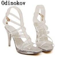 Odinokov 2017 Nouvelle mode d'été femmes talons hauts sandales chaussures wedge peep toe plates-formes roms Croix laçage pompes taille 35-42 1059