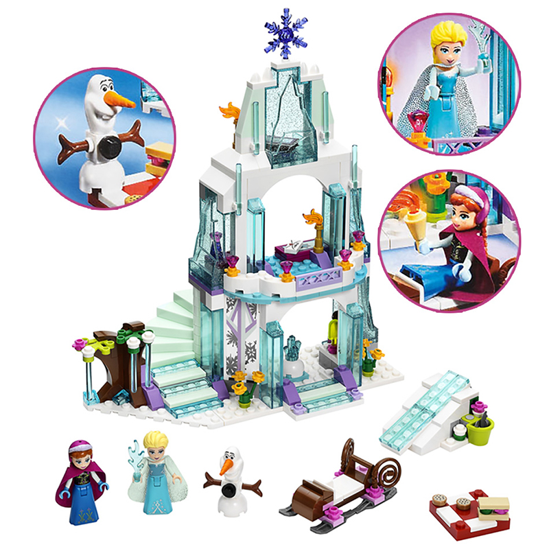 2018 MOC Friends Series Elsa Anna Figures Dress Up Building Block Toys Compatible ALOF Girl Friends Princess Castle Toy