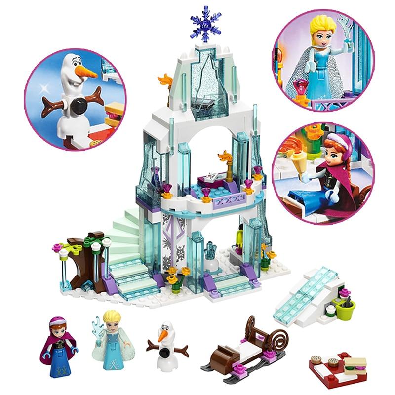 2018 MOC Friends Series Elsa Anna Figures Dress Up Building Block Toys Compatible ALOF Girl Friends Princess Castle Toy