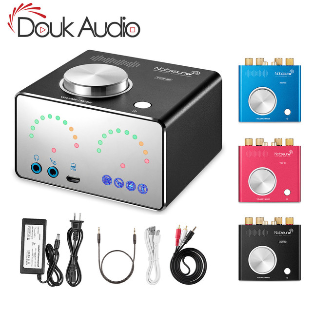 Douk audio HiFi Bluetooth 4.2 Digital Power Amplifiers Home Audio Mini Desktop Integrated Stereo Headphone Amp USB Sound Card
