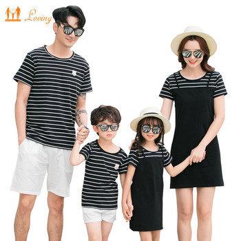 Mother Daughter Dress Family Clothing Summer Striped T-shirt Short Pants Family Matching Outfits Father Son Clothes Set family matching clothes summer fashion mother daughter dress father son short sleeve cotton tshirt patchwork striped family look