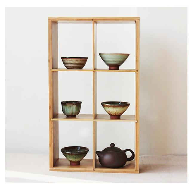 3 Tier Slatted Bamboo Shelf Rack Organizer Storage Stand For Chinese Gongfu Tea Set