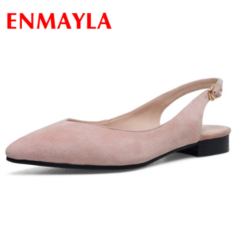 ENMAYLA Buckle Strap Shoes Woman Summer Flats Sandals Slingback Shoes Plus Size 34-42 Black Apricot Pink Date Party Ladies Shoes lankarin brand 2017 summer woman pointed toe flats ladies platform fashion rivet buckle strap flat shoes woman plus size