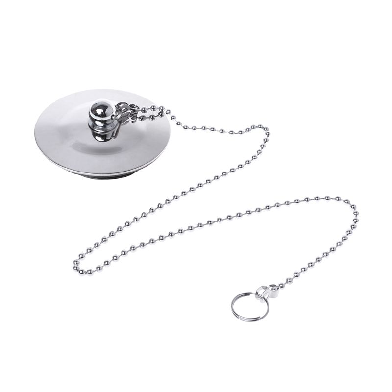 Bathtub Drain Plug With Chain Sink Basin Water Stopper For Bathroom Kitchen Chrome Plated