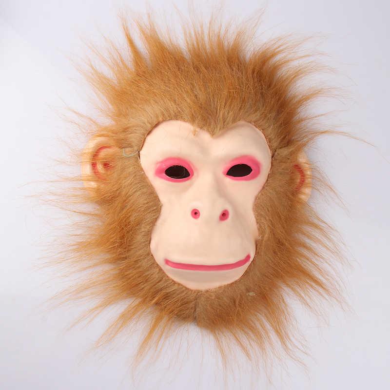 Cosplay kostium na Halloween realistyczne futro grzywa maska lateksowa straszne zwierząt Tiger/lew/małpa/wilk wzór całą twarz