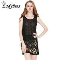 LADYBEES 2017 New Summer Sequins Beading Chiffon Tank For Women Loose Thin Black Tops Sequins Blusas