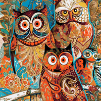LCODCDML Animal Oil Painting Colorful Owls Hand Painted By Numbers Art Drawing 40x50 Frameless Canvas Wall