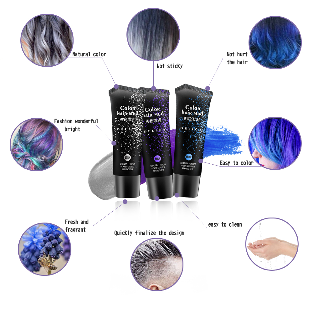 50ml Silver Gray Disposable Hair Color Gel 6 Colors Hair Pomade