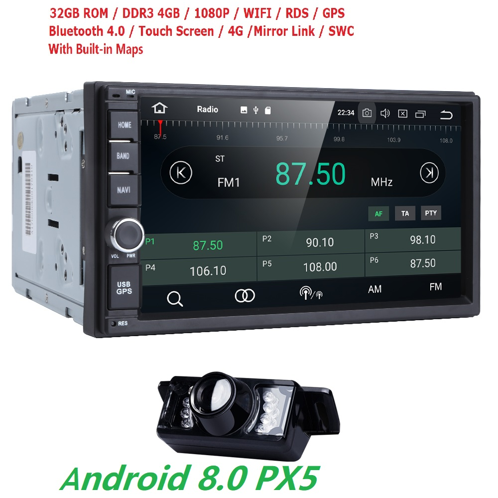 7''Android 8.0 8OctaCore PX5 4GRAM 32GROM Car NO DVD Radio 2din Universal GPS Navigation Stereo Audio HD 1024*600 WIFI Bluetooth