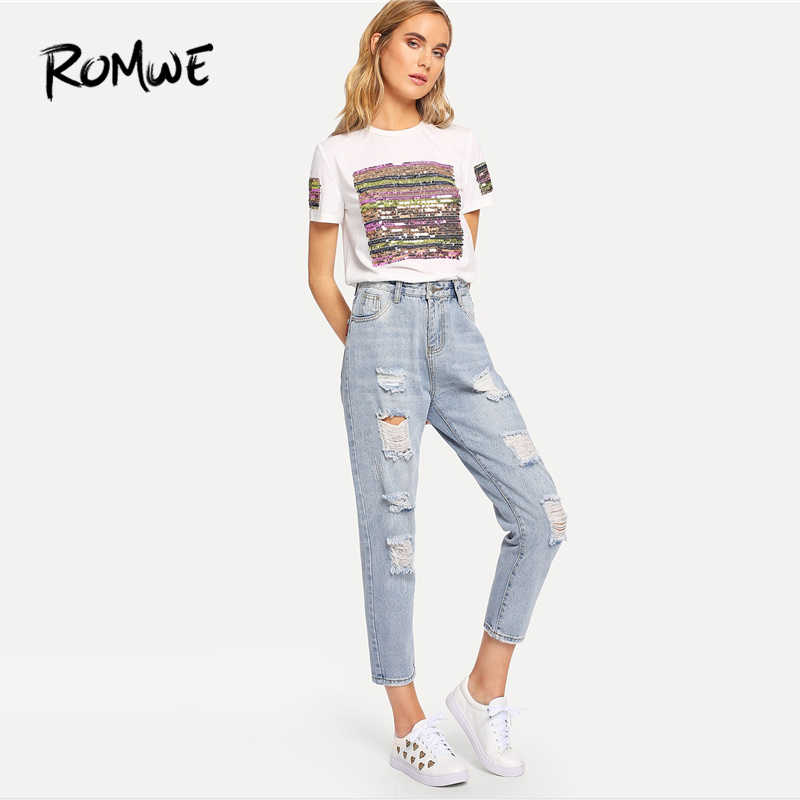 e4d8bfb2c ROMWE Blue Ripped Bleach Wash Denim Jeans Women Casual Button Fly Mid Waist  Straight Leg Plain Trousers Female Summer Crop Pants