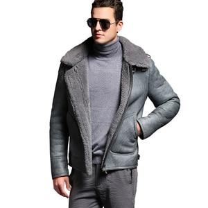 Image 4 - Quality Thick sheepskin coat shearling fur coat Male Formal Red Shearling Clothing genuine shearling coat for men Outwear