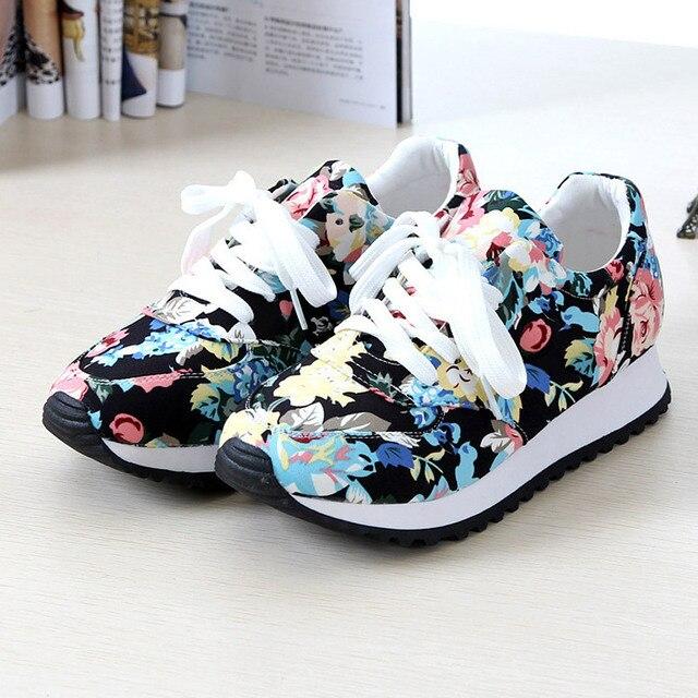 Дышащий Женщина повседневная обувь 2016 Новые Поступления печать холст клинья обувь
