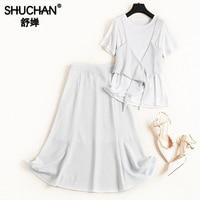 Shuchan 3 Piece Set Women White T shirt+vest+skirts 2019 Summer Womens Matching Everyday Suits Female Ensemble Femme Deux 51079