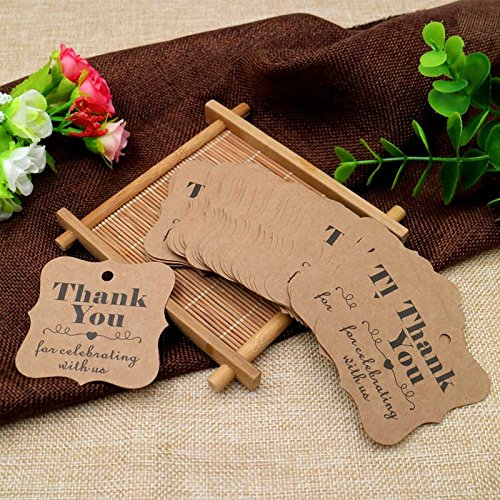 Купить с кэшбэком 100pcs brown and white thank you paper tags with hole for wedding or party decoration gift tags and Packaging Hang Tags