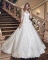 Dreagel 2017 New Arrival Meia Manga Rendas vestido de Baile de Casamento vestido Lindo Frisado Apliques Lace Up Vestido de Casamento Robe de Mariage