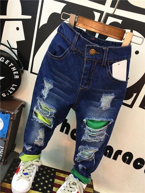 New 2016 Autumn Spring Brand Children Hole Jeans 2-6Yrs Boys Girls Kid Jeans Pants Fashion Children Clothing Kids Denim Trousers